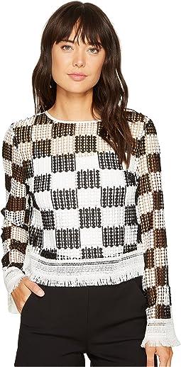 Nicole Miller Checkerboard Breezy Pullover