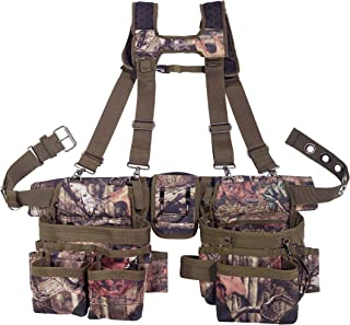 Bucket Boss 2 Bag Camo Tool Belt with Suspenders in Mossy Oak Camo, 85035