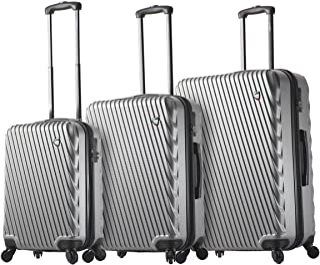 Mia Toro Italy Roulgatti Hardside Spinner Luggage 3pc Set,silver, One Size