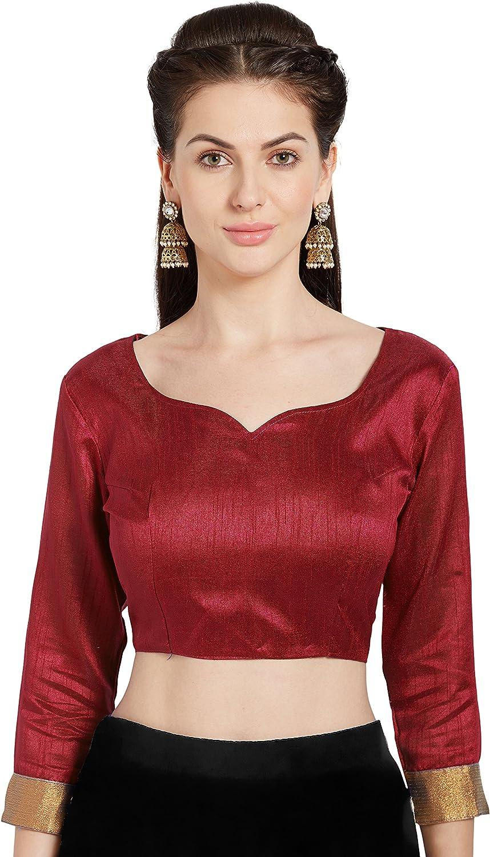 Designer Readymade Art Silk Party Beautiful Wedding Saree Woven Print Stitched Blouse Christmas Occasional Crop Sari Top For Women