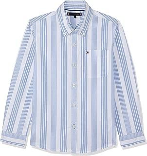 TOMMY HILFIGER Kids Oxford Cotton Stripe Shirt, Bright White/Shirt Blue