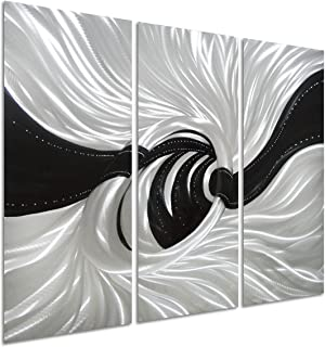 Pure Art Silver Worm Hole - Abstract Metal Wall Art Decor of 3 Panels - Black and Silver Hanging Decorative Sculpture - Modern Design of 32