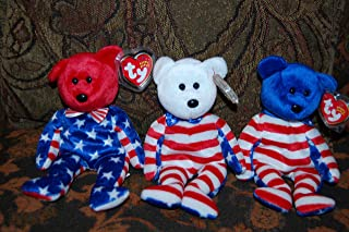 (3) Ty Liberty Beanie Baby Bears (Red,White & Blue Faces)