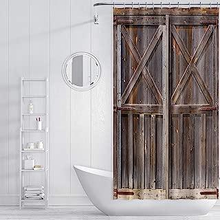ZXMBF Rustic Shower Curtain Old Wooden Barn Door Farmhouse Oak Countryside Village Board Rural Life Theme Bath Curtain Waterproof Fabric Bathroom Decor 36x72 Inch Brown Plastic Hooks 7 PCS