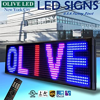 """OLIVE LED Sign 3Color RBP, P20, 15""""x40"""" IR Programmable Scrolling Outdoor Message Display Signs EMC - Industrial Grade Business Ad machine."""