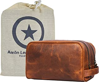 Aaron Leather Goods Leather Toiletry Bag for Men and Women Brown 10.5 Inch (Caramel)