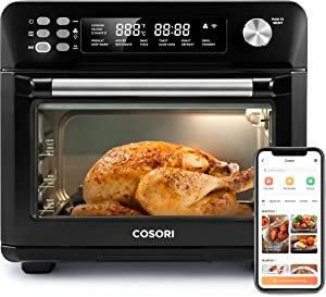 COSORI Air Fryer Toaster Oven Combo 26.4QT 12 Functions Large Countertop Dehydrator Work with Alexa, Recipes & Accessories Included, CS100-AO, Black