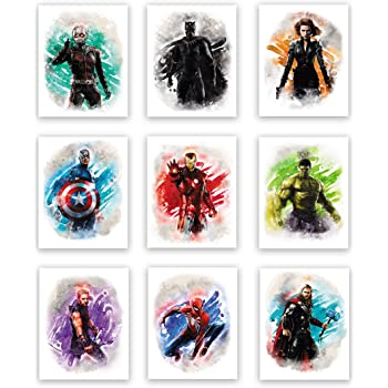 Avengers Superhero Watercolor Art Prints (Unframed) | Great Gift Set of 9 (8x10) | Boys Room Decor | Set 1
