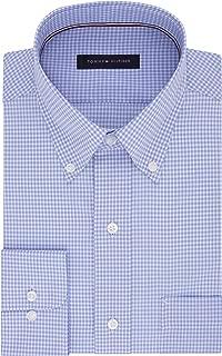 Tommy Hilfiger Mens Non Iron Regular Fit Gingham Buttondown Collar Dress Shirt
