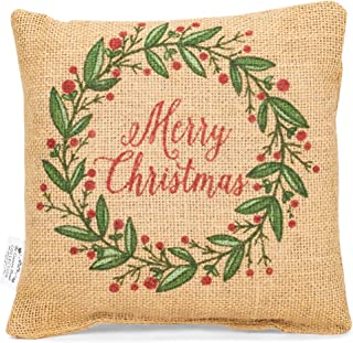 MERRY CHRISTMAS Holly, Berries Small Burlap Pillow 8
