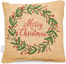 MERRY CHRISTMAS Holly, Berries Small Burlap Pillow 8x8 Country Rustic Decor