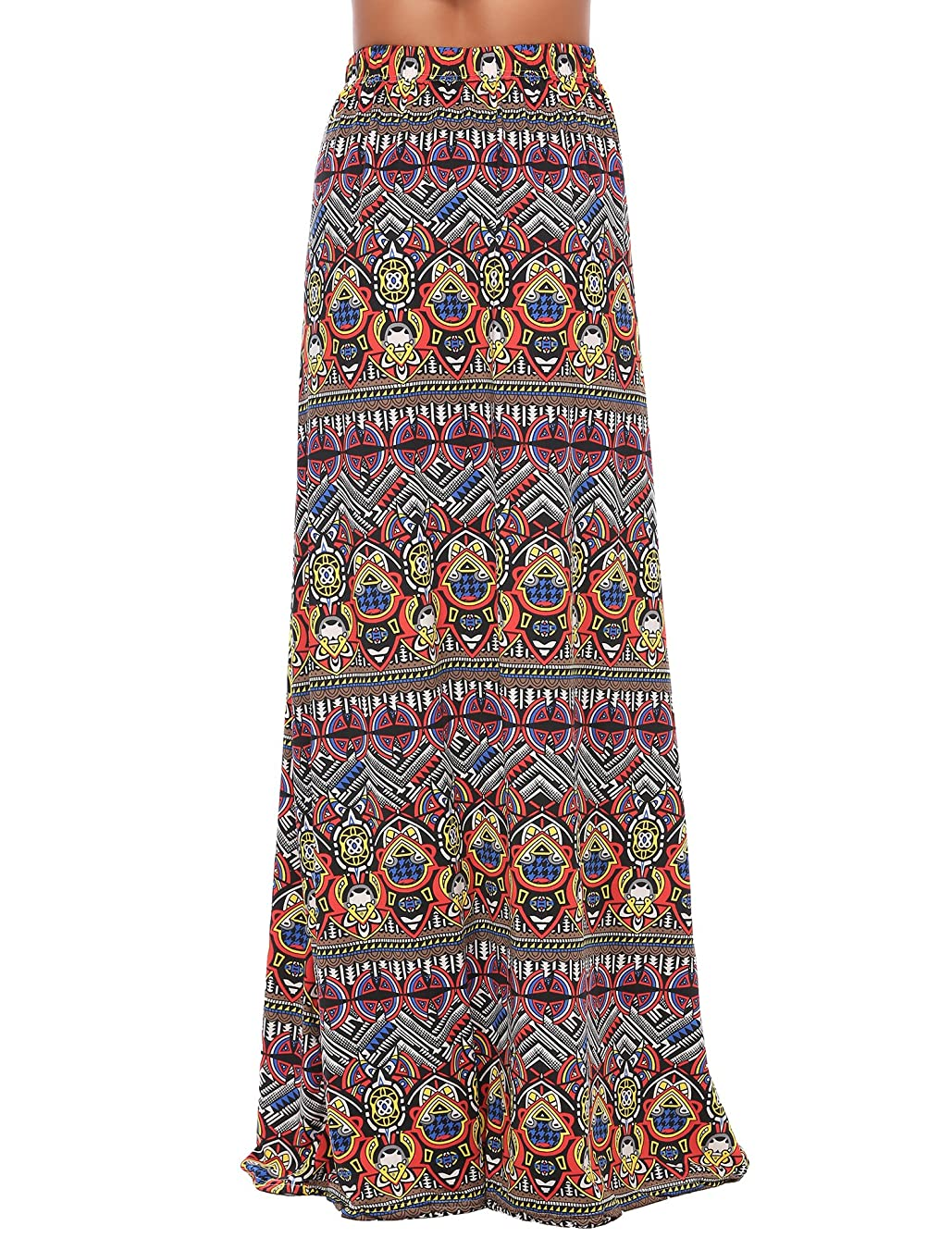 Zeagoo Maxi Printed Skirts for Women A Line Long Elastic Casual Skirt