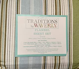 Traditions By Waverly 100% Cotton Heavy Weight Deep Pocket Twin Flannel Sheet Set, Green Blue Brown Stripe Down The Land Glacier