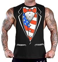 Men's US American Tuxedo Sleeveless Black T-Shirt Gym Tank Top