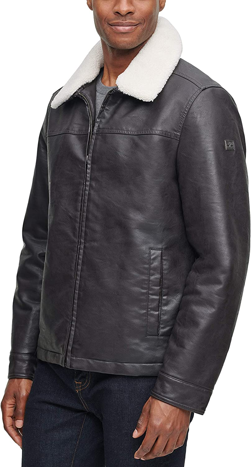 Dockers Men's James Dean Faux Leather Jacket with Removable Sherpa Collar