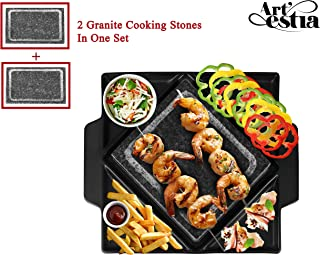 Artestia Double Cooking Stones in One Sizzling Hot Stone Set, Tabletop Barbecue/BBQ/Hibachi/Steak Grill (Deluxe Set with Two Stones on One Black Ceramic Platter)