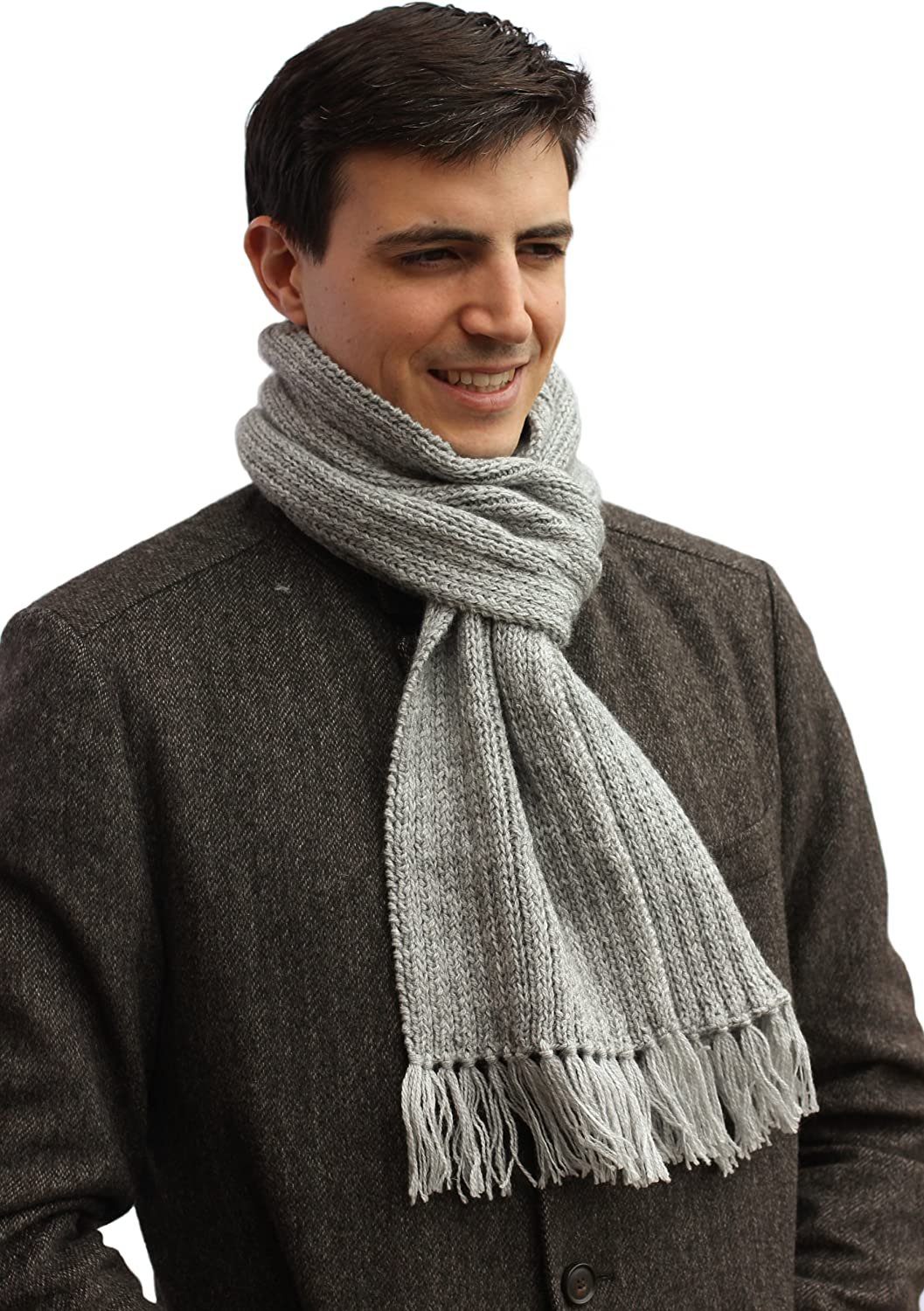Pure Alpaca Knitted by Hand Scarf - Design Name: Madrid (Cottage Gray) Custom Made Order Available
