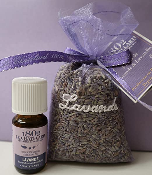 Le Chatelard 1802 Lavender Lavandin In Embroidered Organza Sachet 25g And Lavender Essential Oil 10ml