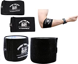 Grip Power Pads Elbow Compression Sleeve (2 Count) Golf Elbow Brace Weightlifting Sleeve Tennis Strap Arthritis & Tendonitis Pain Relief Workout Arm Support Sleeve