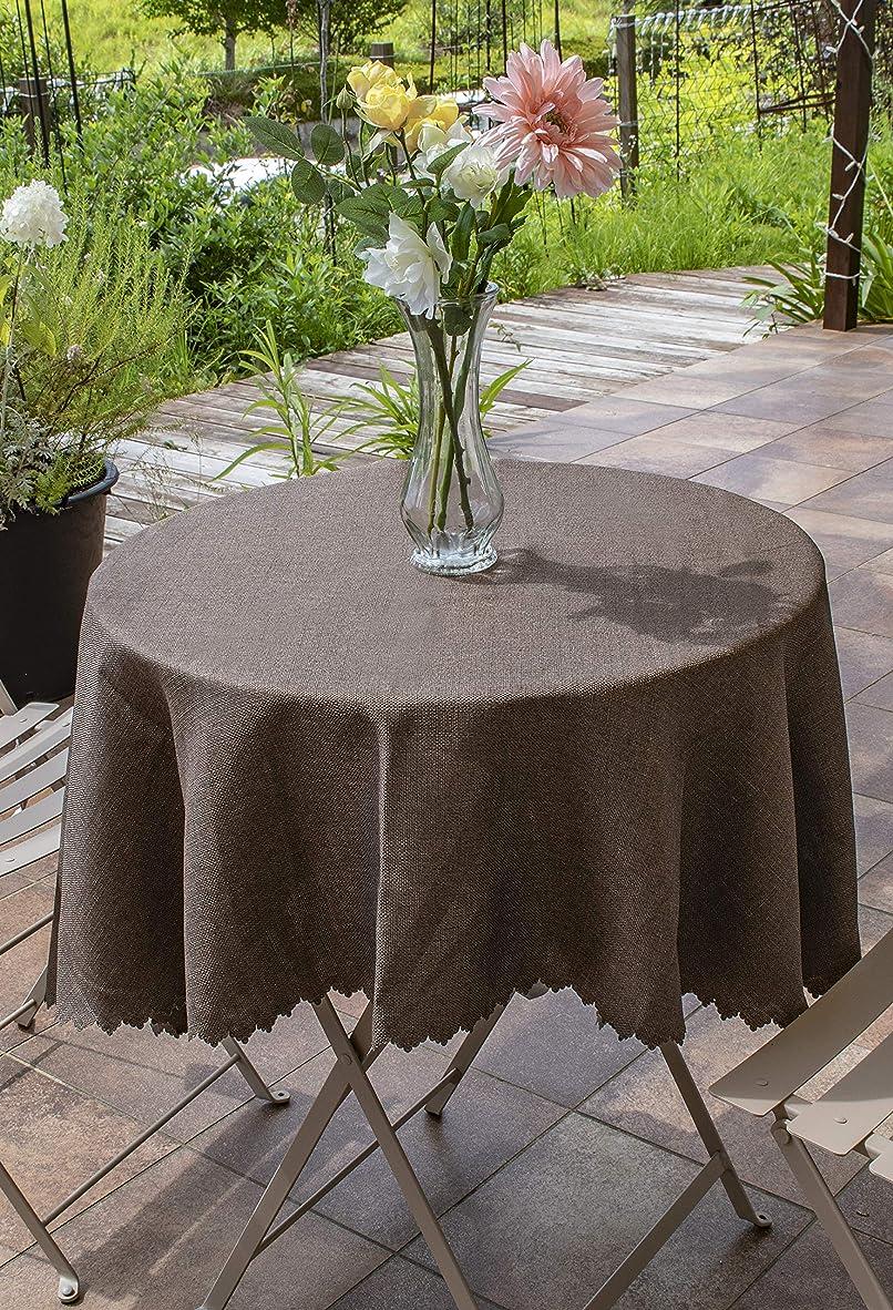 プライム落ち着いてリフトアイムス テーブルクロス [ 145cm / ブラウン/円形 ] 撥水加工 シャンブレー テーブル クロス (国産)