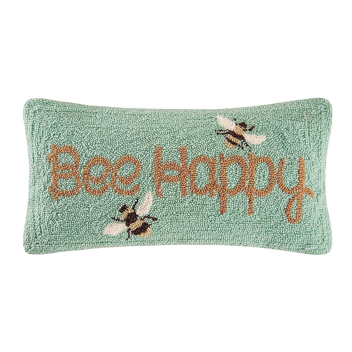 鳴らす普及豆腐C & FホームBee Happy Hooked枕、イエロー