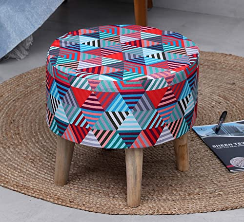 Sheen D cor Beautiful Printed Puffy Stool for Living Room Sitting Designer Ottoman upholstered Foam Cushioned for Foot Rest Home Furniture with 4 Legs German Teak Pack of 1 16X16X16 Inches Multi