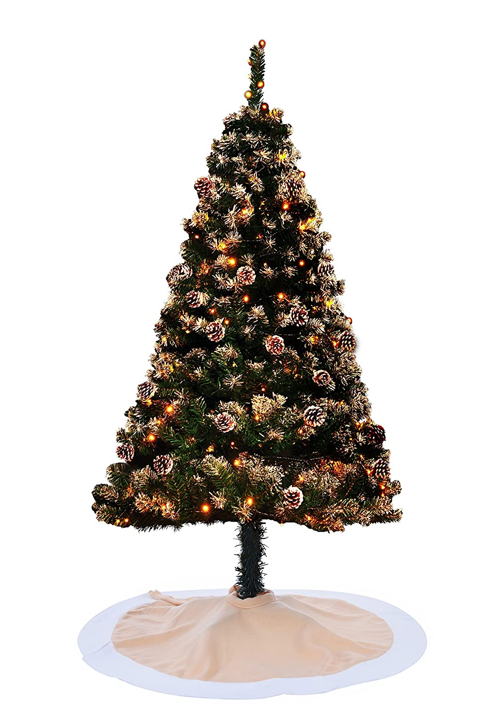 左日促すXmas クリスマスツリー 150cm Christmas tree グリーン 松かさ本物 ツリー 黄色LED イルミネーション ツリースカート付き HIMOE