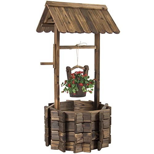 Best Choice Products Rustic Wooden Wishing Well Planter Outdoor Home Decor For Patio Garden