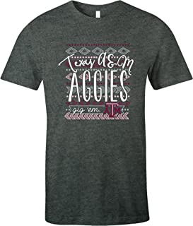 NCAA Texas A&M Aggies Women's Pattern Lines Favorite Short sleeve T-Shirt, Small,DeepHeather