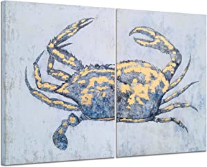 Yihui Arts Coastal Canvas Wall Art Set Of Two Hand Painted Blue and White Crab Paintings Modern Abstract Animal Nautical Artwork with Gold Foil for Living Room Bedroom Bathroom Nursery Decor