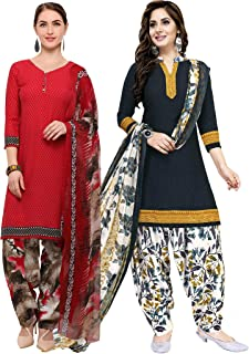 Rajnandini Women's Red and Navy Blue Crepe Printed Unstitched Salwar Suit Material (Combo Of 2) (Free Size)