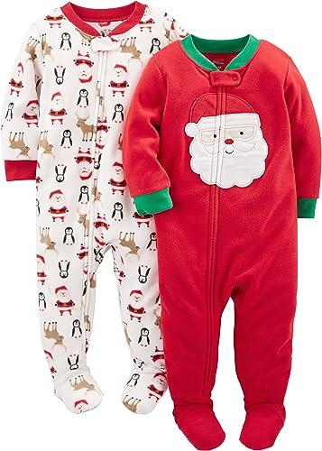 Simple Joys by Carter's Paquete de 2 Pijamas de Forro Polar Resistentes al Fuego Unisex bebé, Pack de 2