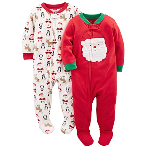 Simple Joys by Carter s Baby and Toddler 2-Pack Holiday Loose Fit Fleece Footed  Pajamas d7e070f6c