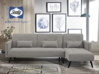 Sealy Jenna Modern Microfiber L-Shaped Convertible Sectional in Gray