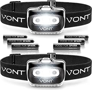 """Vont """"Spark"""" LED Headlamp [Batteries Included, 2 Pack] IPX5 Waterproof, with Red Light, 7 Modes, Head Lamp, for Running, C..."""