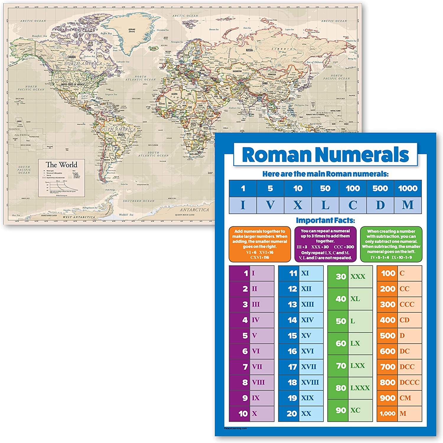 2 Pack - Antique Style World Poster + Map Max 47% OFF Chart overseas Roman Numerals