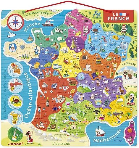 Janod - Puzzle Carte de France Magnétique - 93 Pièces Aimantées - Puzzle Enfant - Découvrir et Mémoriser - Jeu Éducat...