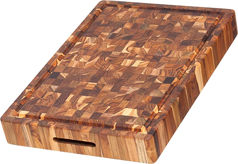 Teak Cutting Board Rectangular Butcher Block With Hand Grip And Juice Canal 20 X 14 X 2 5 In By Teakhaus