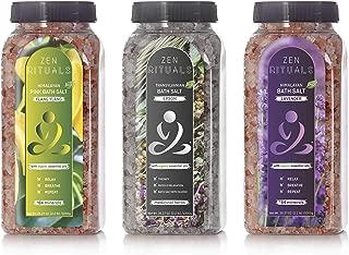 Zen Rituals Bath Salt Set – Organic Lavender Himalayan Salt, Ylang Ylang Pink Salt With Minerals and Transylvanian Epsom Salt With Medical Herbs – Bundle Pack 3 Bottles, 6.6 lbs
