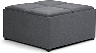 SIMPLIHOME Avalon 35 inch Wide Square Coffee Table Lift Top Storage Ottoman, Cocktail Footrest Stool in Upholstered Slate Gre