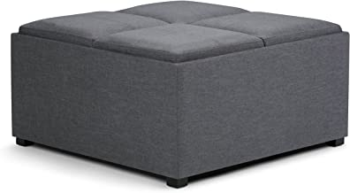 Simpli Home AY-F-07-GL Avalon 35 inch Wide Contemporary Square Coffee Table Storage Ottoman in Slate Grey Linen Look Fabric