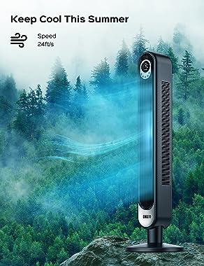 """Dreo 42"""" Tower Fan with Remote. Floor Fan Oscillating 90°. Powerful Fan 6 Speeds. Quiet Bladeless Fan. 3 Modes. 12-Hour T"""
