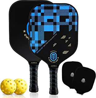 Pickleball Paddles, USA-Owned - Pro Graphite Pickleball Paddle Set of 2 with Carbon Fiber Surface, Honeycomb Core, 2 Paddle Covers, 2 Pickleball Balls and Carry Bag