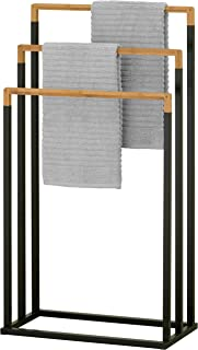 MyGift 3-Tier Black Metal and Bamboo Freestanding Towel Bar Rack
