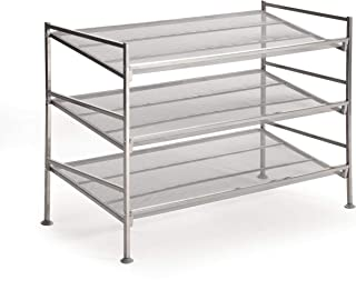 Seville Classics 3-Tier Stackable 12-Pair Multi-Position Shoe Rack Adjustable Metal Freestanding Storage Shelf for Bedroom, Closet, Entryway, Dorm Room, Satin Pewter Mesh