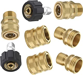 Mingle Ultimate Pressure Washer Adapter Set, Quick Disconnect Kit, M22 Swivel to 3/8 Inch..