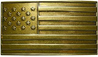 FL103 Unisex Vintage Steampunk Antique Brass USA Flag Plaque Buckle fits 1.33