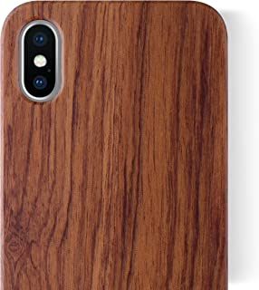 iCASEIT iPhone Xs/X Wood Case - Premium Finish Unique Cases [Compatible with Wireless Charger] Lightweight Unique Grain Hybrid Snap-on Protective Cover for iPhone Xs/X - Rosewood