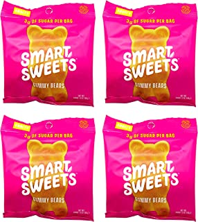 Keto-Friendly, Stevia Sweetened Fruity Gummy Bears Low Sugar, Low Carbs Pack of 4 (1.8 Ounce)