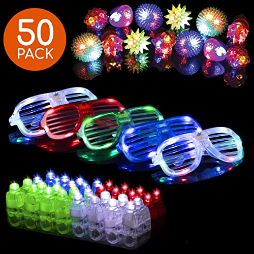 LED Glow Party Favors for Kids and Adults – 50pk Light Up Glow in The Dark